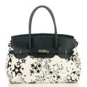 LaFiore24 Handtasche Schultertasche Italy, Leder Henkeltasche, Canvas Kombi Stern