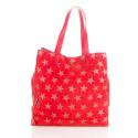 LaFiore24 Ita. Shopper Einkaufstasche Damen Schultertasche Handtasche echtes Leder funkelnde Sterne (Rot)