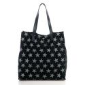 LaFiore24 Italienische Shopper Handtasche Damen Schultertasche echtes Wildleder mit Sternen integrierte Beuteltasche herausnehmbar (schwarz)