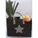 LaFiore24 hochwertige Filztasche Shopper Stern Einkaufstasche Aufbewahrung verschied. Größen (Dunkel grau Mittelgross - Medium) 35x22cm H.27/40cm