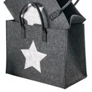 LaFiore24 Hochwertige Filztasche Shopper Stern Einkaufstasche Allzweck Korb Verschiedene Größen (Dunkel Grau, Gross - Large) 42x24cm H.33/46cm