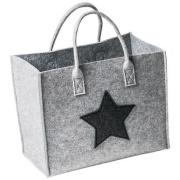 LaFiore24 Filztasche Qualitäts Filz Shopper Stern Einkaufstasche Allzweck Korb verschied.Größen (Hell grau, Mittelgross - Medium) 35x22cm H. 30/43cm