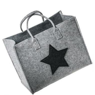 LaFiore24 Filztasche Qualitäts Filz Shopper Stern Einkaufstasche Handtasche Henkeltasche versch.Größen (Hell Grau Gross - Large) 42x24cm H.33/46cm