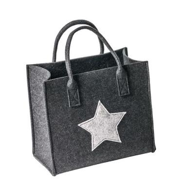 9fc240c1d7396 LaFiore24 Filztasche Qualitäts Shopper Stern Einkaufstasche Handtasche  Henkeltasche versch.Größen (Dunkel Grau