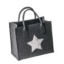 LaFiore24 Filztasche Qualitäts Shopper Stern Einkaufstasche Handtasche Henkeltasche versch.Größen (Dunkel Grau, Klein - Small) 30x18cm H. 27/40cm