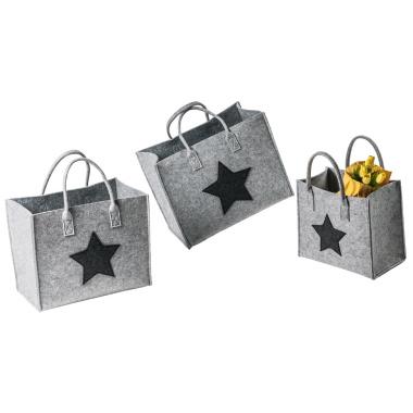 LaFiore24 Filztaschen 3er-Set Stern Filz Einkaufstasche Damen Shopper Henkeltasche Zeitschriften Aufbewahrung Festival Handtasche (Hellgrau)