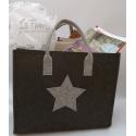 LaFiore24 Filztaschen 3er-Set Stern Filz Einkaufstasche Damen Shopper Henkeltasche Zeitschriften Aufbewahrung Festival Handtasche (Dunkelgrau)