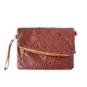 LaFiore24 Made in Italy Clutch Leder Henkeltasche Umhängetasche Schultertasche Abendtasche (dunkelbraun)