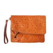 LaFiore24 Made in Italy Clutch echt Leder Henkeltasche Umhängetasche Schultertasche Abendtasche (hellbraun)