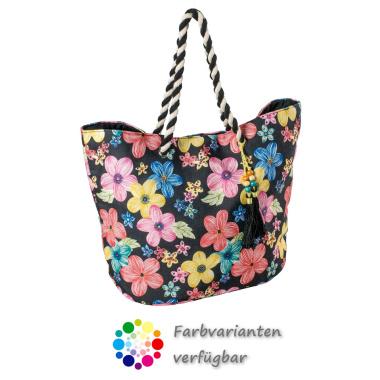 LaFiore24 Shopper Einkaufstasche Blumen Strandtasche Damen Umhängetasche