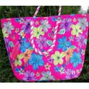 LaFiore24 Einkaufstasche Shopper Ethno Blumen grosse xxl Damen Strandtasche Badetasche Schultertasche pink