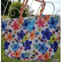 LaFiore24 Einkaufstasche Shopper Ethno Blumen grosse xxl Damen Strandtasche Badetasche Schultertasche weiß
