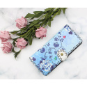 LaFiore24 Portemonnaie Geldbörse hochwertiger Damen Geldbeutel Leder Blumen Vintage Lang Gross Blau