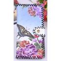 LaFiore24 Portemonnaie Geldbörse hochwertiger Damen Geldbeutel Leder Blumen Vintage Lang Gross Blau-Lila Schmetterling