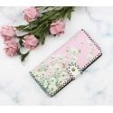 LaFiore24 Portemonnaie Geldbörse hochwertiger Damen Geldbeutel Leder Blumen Vintage Lang Gross Rosa-Pink