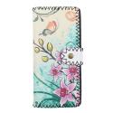 LaFiore24 Portemonnaie Geldbörse hochwertiger Damen Geldbeutel Leder Blumen Vintage Lang Gross Mehrfarbig-Blüten