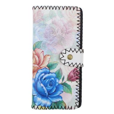 LaFiore24 Portemonnaie Geldbörse hochwertiger Damen Geldbeutel Leder Blumen Vintage Lang Gross Mehrfarbig-Blume