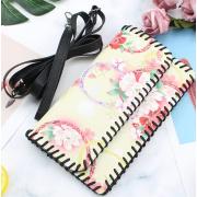 LaFiore24 Clutch Premium Smartphone Tasche Damen Geldbeutel Leder Mehrfarbig-Blüten