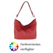 LaFiore24 Ital. Shopper Leder Handtasche Umhängetasche Schultertasche Henkeltasche rot