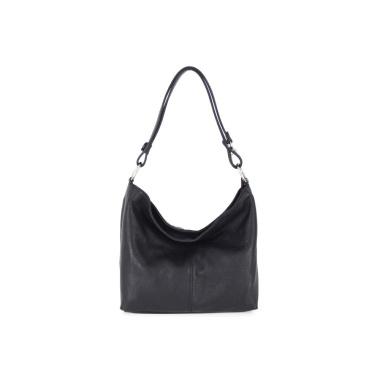 LaFiore24 Ital. Shopper Leder Handtasche Umhängetasche Schultertasche Henkeltasche schwarz