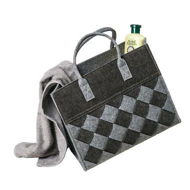 LaFiore24 Filztasche hochw. Einkaufstasche Filz Shopper Damen Handtasche Gross 36 x 24 x 31cm Grau