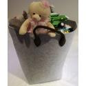 LaFiore24 Filztasche Einkaufstasche Spielzeug Aufbewahrung Allzwecktasche Jumbo  Grösse ca. 55 x 36 x 50 cm hellgrau