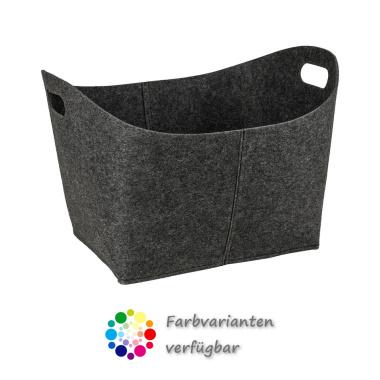 LaFiore24 Filzkorb Filz Wäschekorb Spielzeug Allzweckkorb stabiler XXL Korb oval grau