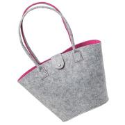 LaFiore24 Filztasche Shopper Einkaufstasche Handtasche Henkeltasche Grau - Pink
