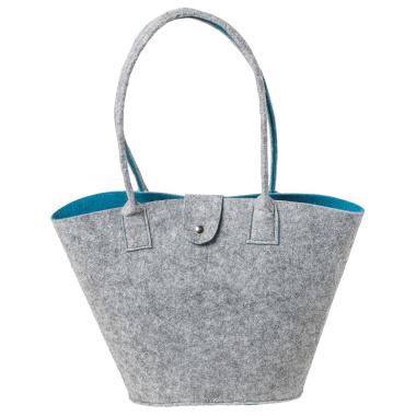 LaFiore24 Filztasche Shopper Einkaufstasche Handtasche Henkeltasche Grau - Türkis
