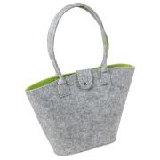 LaFiore24 Filztasche Shopper Einkaufstasche Handtasche Henkeltasche Grau - Grün