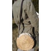 LaFiore24 hochw. Korbtasche Damen Schultertasche Ibiza Rund  Natur Klein 20 x 7 x 20 cm