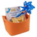 LaFiore24 Filzkorb stabiler Geschenkekorb Aufbewahrungs Korb stabil oval orange