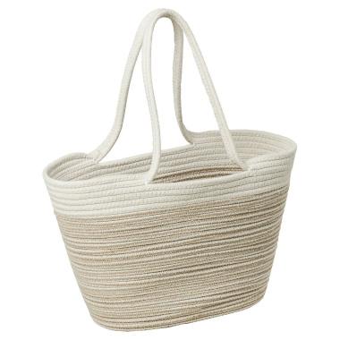 LaFiore24 Einkaufstasche Shopper Schultertasche Allzwecktasche Beige-Weiß