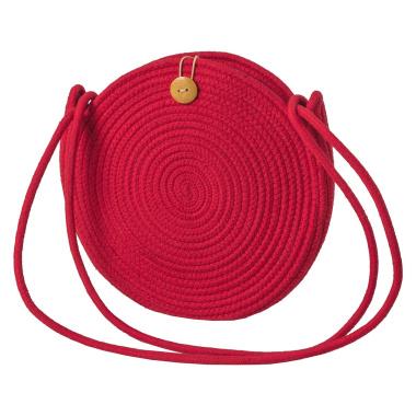 LaFiore24 Schultertasche Crossbody-Bag Umhängetasche Damen Ibiza Bali Style Rund Rot
