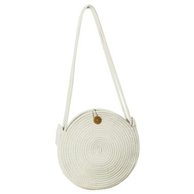 LaFiore24 Schultertasche Crossbody-Bag Umhängetasche Damen Ibiza Bali Style Rund Weiß