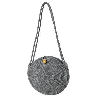 LaFiore24 Schultertasche Crossbody-Bag Umhängetasche Damen Ibiza Bali Style Rund Grau