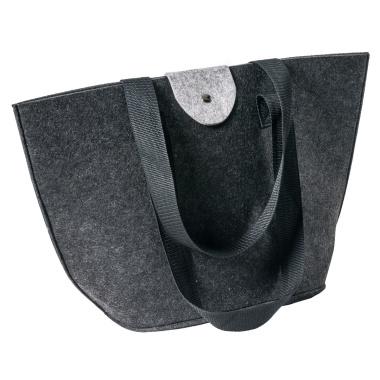 LaFiore24 Filztasche Einkaufstasche Damen Filz Shopper Festival Bag Henkeltasche Aufbewahrung (Dunkelgrau)