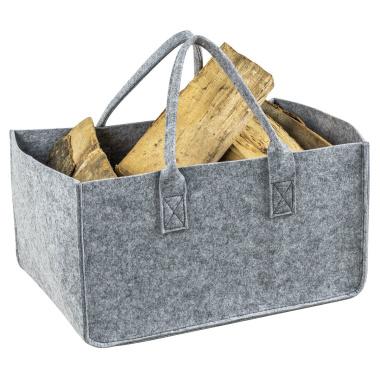 LaFiore24 Stabile Filz Tasche Shopper Holz Korb Aufbewahrung Gross 50x34x27cm Grau