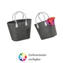 LaFiore24 Filztaschen 2er-Set Filz Shopper Henkeltaschen Einkaufstaschen