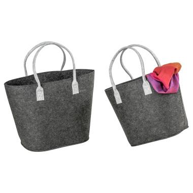 LaFiore24 Filztaschen 2er-Set Filz Shopper Einkaufstaschen Dunkel Grau