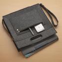 LaFiore24 Filztasche Filz Shopper Umhängetasche Filz Cross-Body-Bag Schultertasche Dunkel Grau