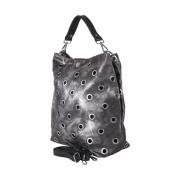 LaFiore24 Umhängetasche ital. Leder Handtasche Shopper Schultertasche mit Ösen anthrazit - silber