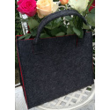LaFiore24 Hochw. Filztasche Einkaufstasche Filz Shopper Festival Damen Handtasche grau-rot