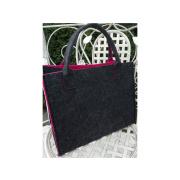 LaFiore24 Hochw. Filztasche Einkaufstasche Filz Shopper Festival Damen Handtasche grau-pink