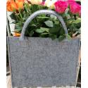LaFiore24 Hochwertige Filztasche Einkaufstasche Damen Shopper Handtasche Henkeltasche Festivalbag hell grau-orange