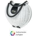 LaFiore24 Korbtasche Henkeltasche Damen Handtasche Bali Tasche Ibiza Clutch Natur Herz - Weiss