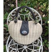 LaFiore24 Korbtasche Henkeltasche Damen Handtasche Bali Tasche Ibiza Clutch Natur Herz - Natur