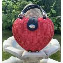 LaFiore24 Korbtasche Henkeltasche Damen Handtasche Bali Tasche Ibiza Clutch Natur Herz - Rot
