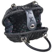LaFiore24 Korbtasche Henkeltasche Damen Handtasche Bali Tasche Ibiza Clutch Natur Herz Schwarz