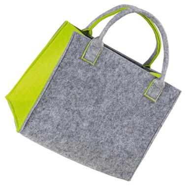 LaFiore24 Hochwertige Filztasche Einkaufstasche Damen Shopper Handtasche Henkeltasche Festivalbag hell grau-grün